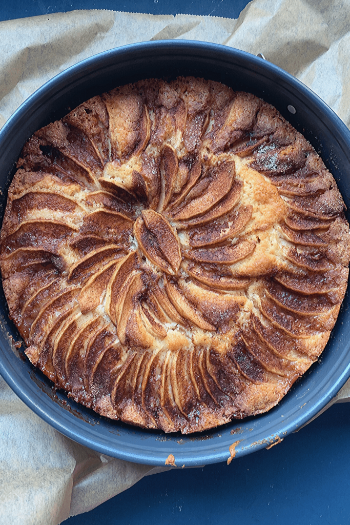 Mum's apple teacake, fresh from the oven and still in the pan.