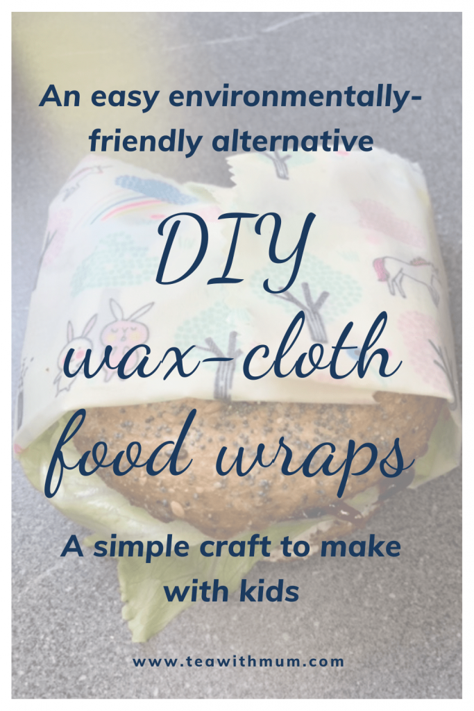 DIY environmentally-friendly wax-cloth food wraps: an easy, environmentally-friendly alternative to make with kids. Image: bagel with salad and cheese wrapped in a DIY wax cloth