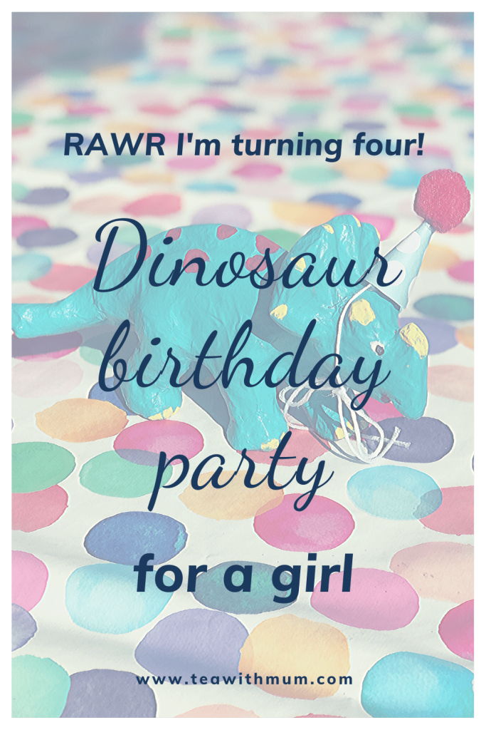 RAWR! I'm turning four! Dinosaur birthday party for a GIRL. With ideas and freebies for a rainbow dinosaur birthday party. Image: triceratops with a party hat