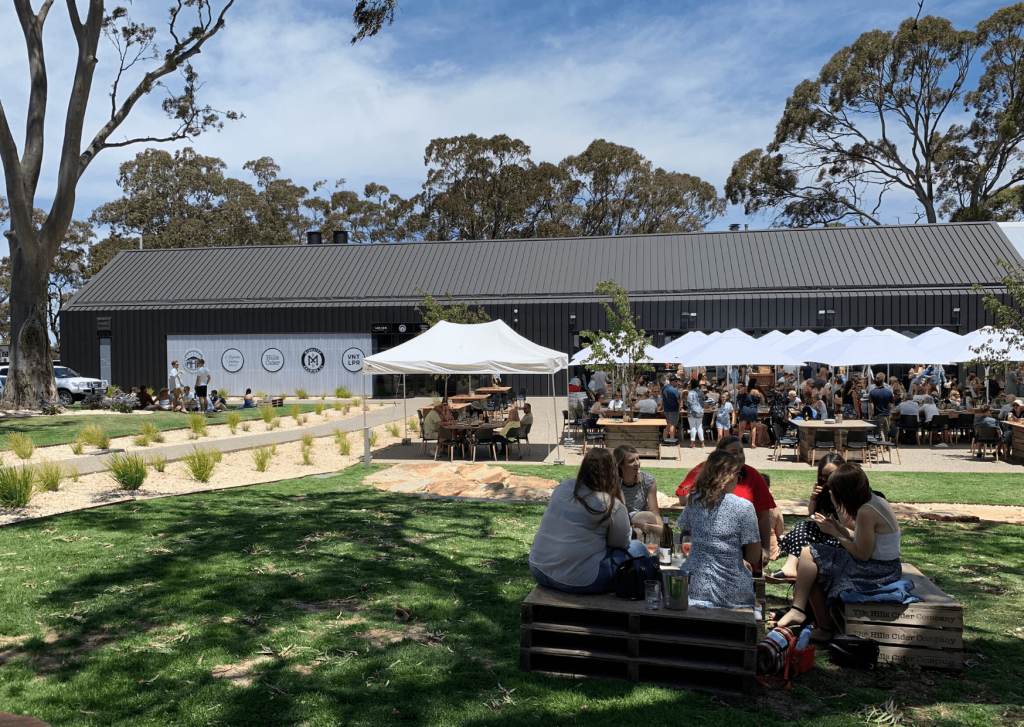 Lot 100: view from the picnic area to the tasting shed and the seating area