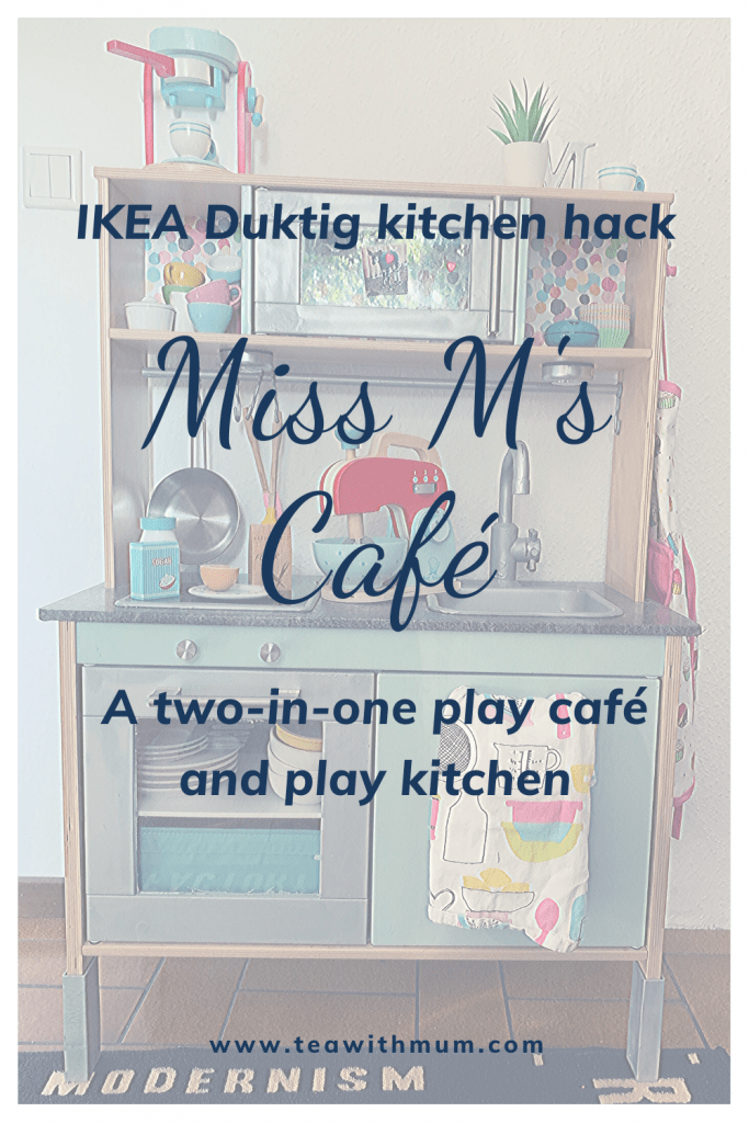 An IKEA Duktig kitchen hack: Miss M's Café. A two-in-one play café and play kitchen. Image of the kitchen