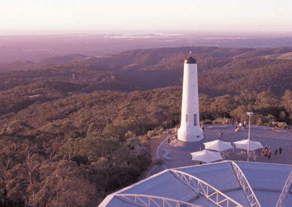 Mount Lofty Summit and view through to Adelaide. Image: Summit cafe