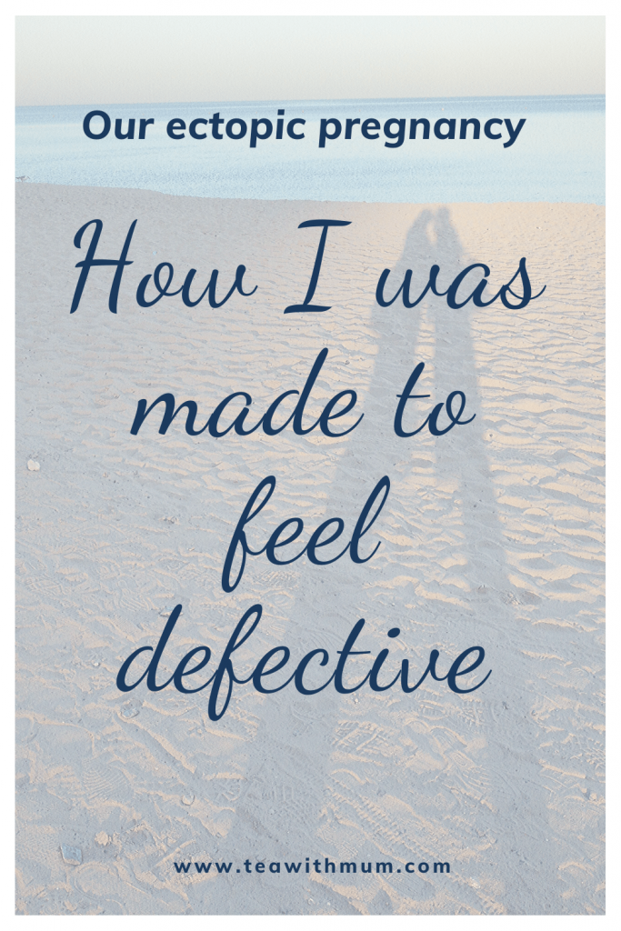 Our ectopic pregnancy and how I was made to feel defective. Image: shadow of a couple on the beach