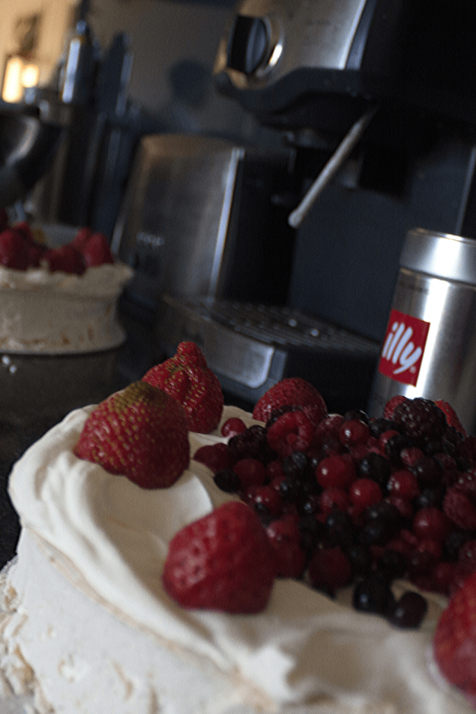 Pavlova with red berries for our navy and red wedding