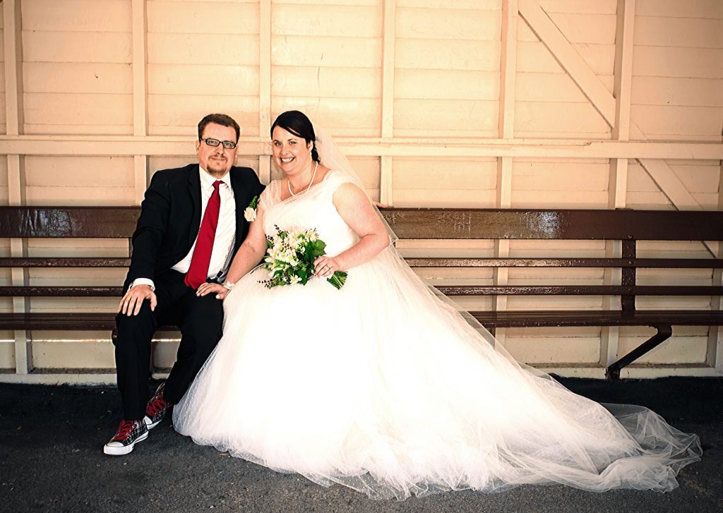Wedding photos at the Port Elliot train station: Photo by Kate Basso Photography