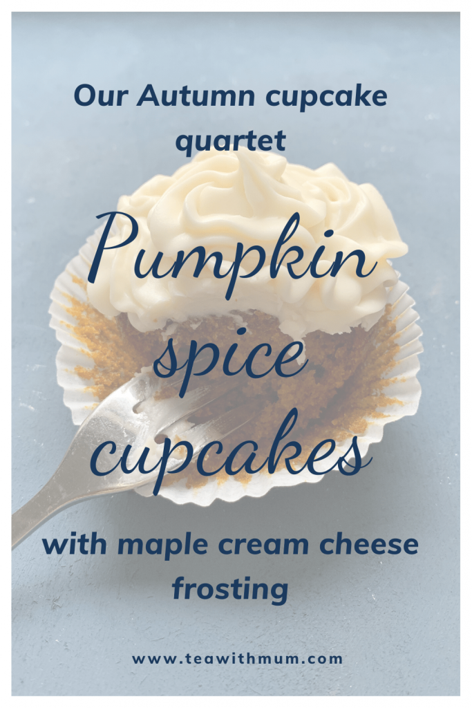 Our Autumn cupcake quartet: Pumpkin spice cupcakes with maple cream cheese frosting: Easy, delicious, comforting. Image of a half-eaten cupcake with a fork