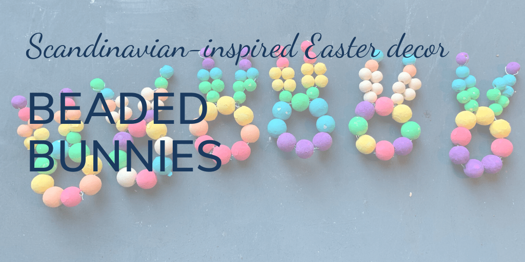 Scandinavian inspired Easter decor: Beaded Easter bunnies; with six colourful, beaded bunnies; banner