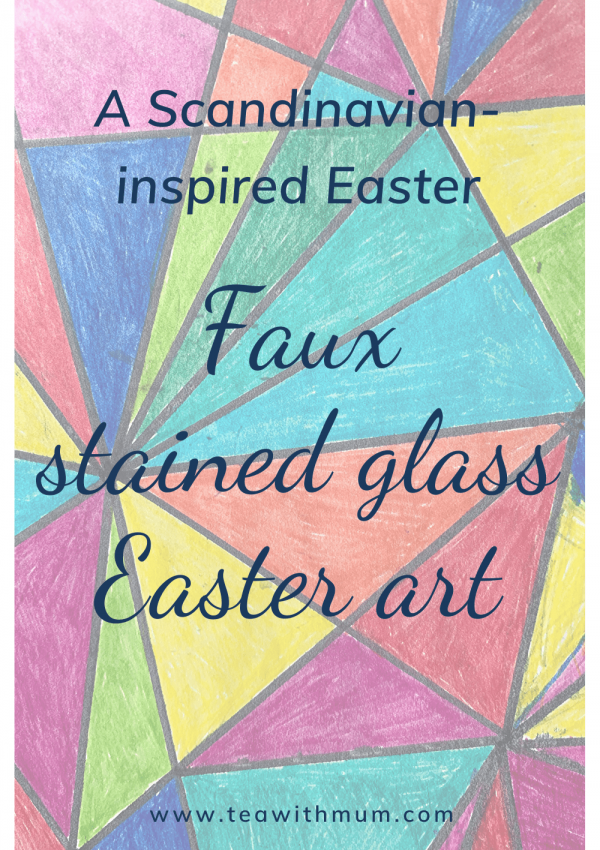 A Scandinavian-inspired Easter: Faux stained glass Easter art, with a close up of our faux stained glass Easter egg