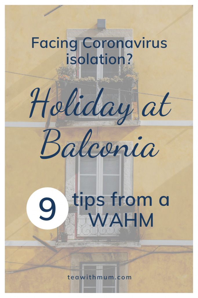Facing Coronavirus isolation: Holiday at Balconia: 9 tips from a WAHM; Image of yellow house with balconies by Lily Popper on Unsplash