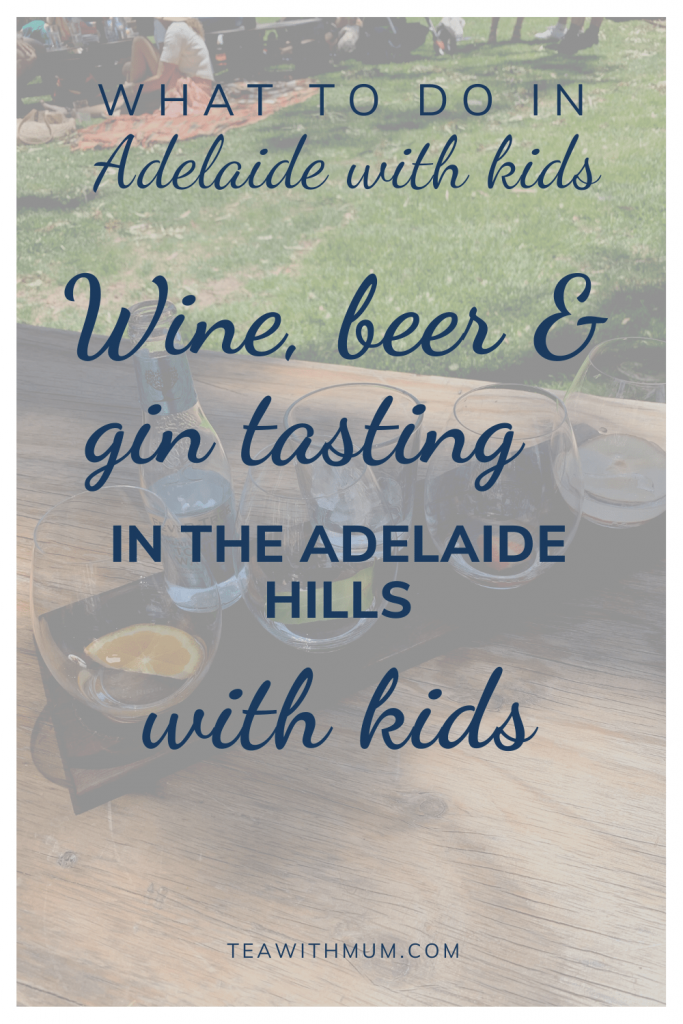 What to do in Adelaide with kids: Wine, beer and gin tasting in the Adelaide Hills with kids, with image of Adelaide Hills Distillers tasting flight