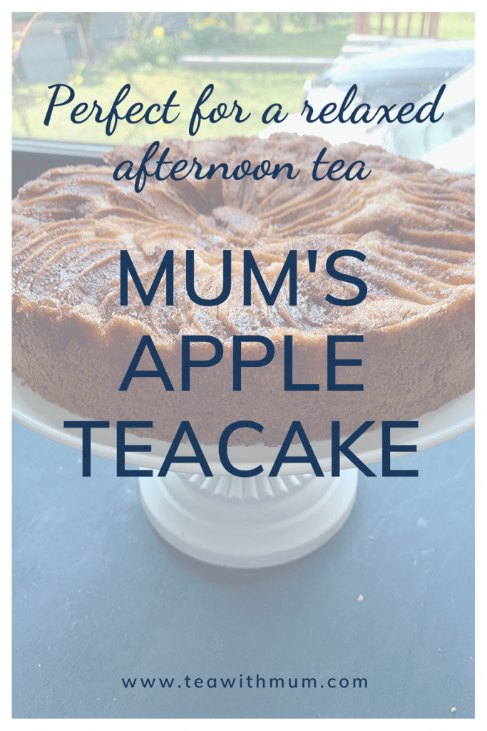 Perfect for a relaxed afternoon tea: Mum's apple teacake: image of an apple teacake on a white cake stand and blue background