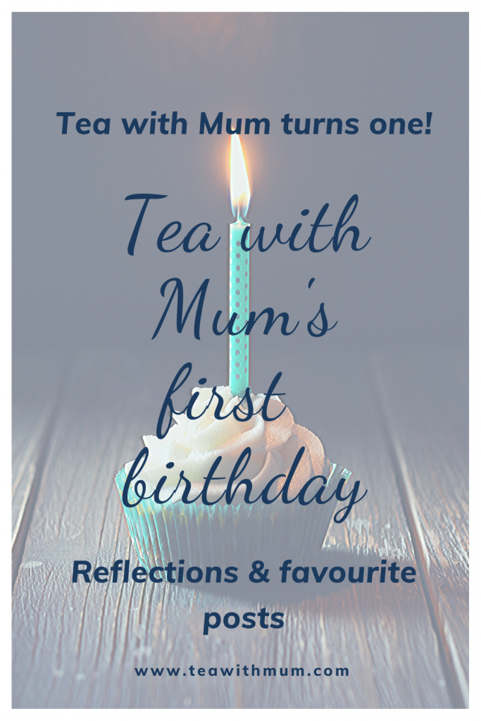 Tea with Mum's first birthday: our first blogiversary. Reflections and favourite posts. Image of a cupcake with a candle.