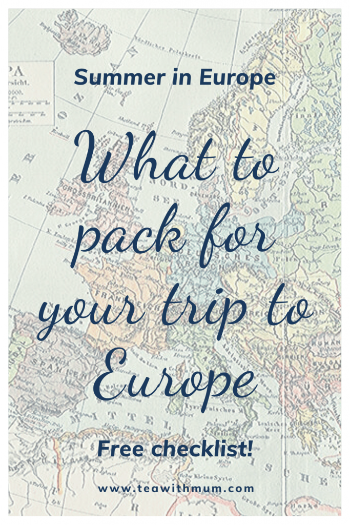 What to pack for your trip to Europe in Summer: The ultimate guide, with an free, easy packing checklist. Image: map of Europe
