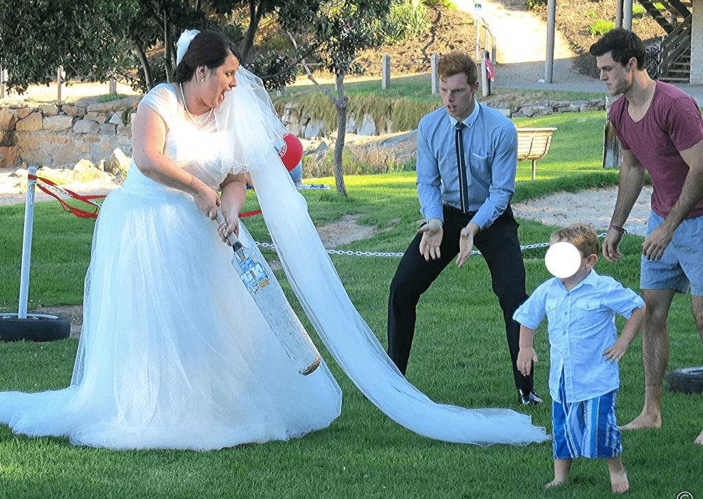 A cricket match: bride's team versus groom's team
