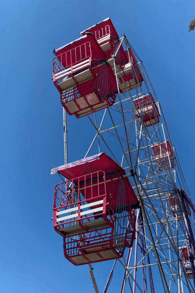 Mini red ferris wheel at the fun fair on the Victor Harbour foreshore, Fleurieu Peninsula