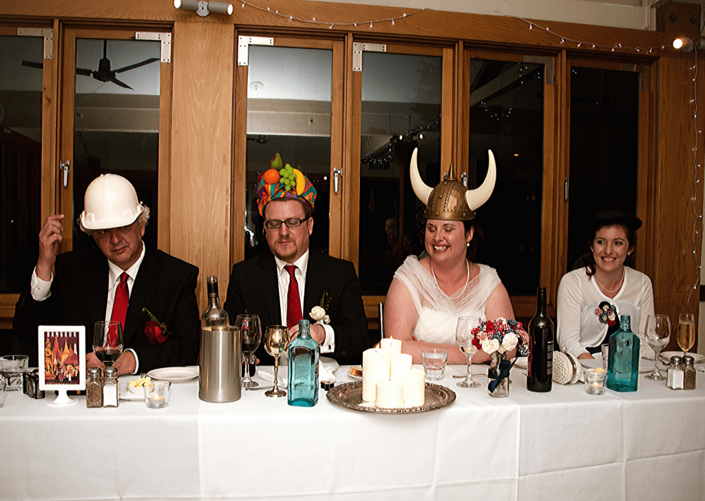 Hats collected during our travels and from thrift shops: great ice breakers for a vintage wedding themed wedding. Photo: Kate Basso Photography.