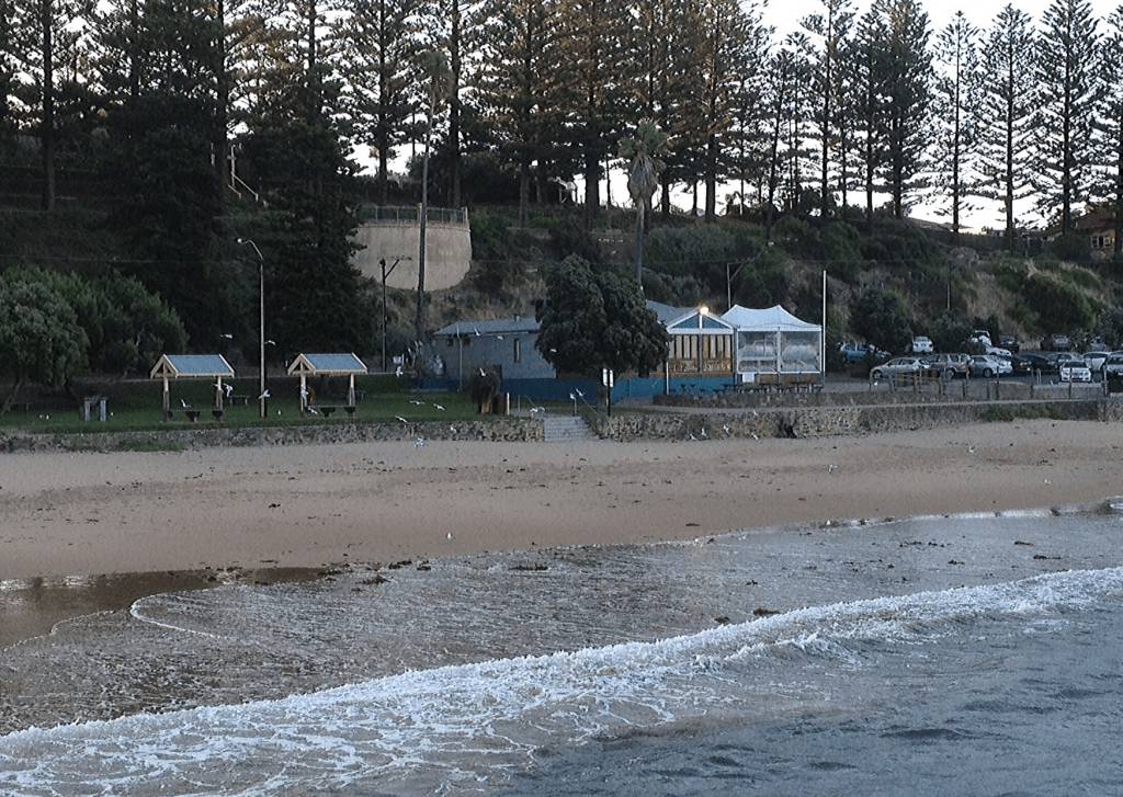 The evening before our DIY vintage travel themed wedding: View from the jetty to the reserve, beach and restaurant