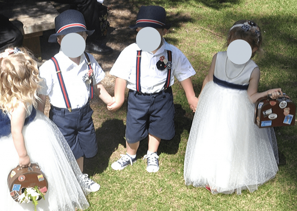 Our page boys and flower girls, with pinwheel headbands (girls) and boutonnieres (boys): Photo: D Johns