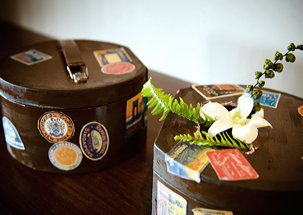 DIY 'vintage look' suitcases for our page boys and flower girls. Photo: Kate Basso Photography.