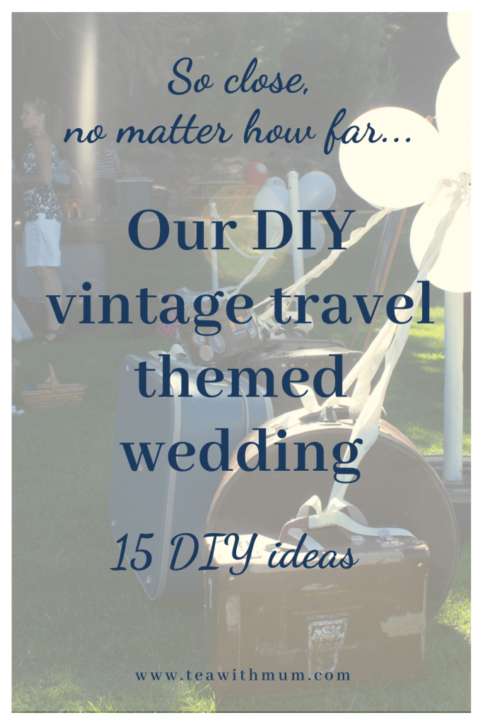So close, no matter how far: Our DIY vintage travel themed wedding; 15 DIY ideas; red and navy wedding; vintage suitcases with balloons