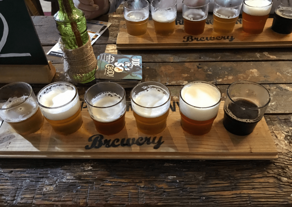 Prancing Pony Brewshed tasting flights of six beers