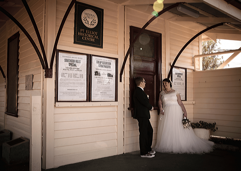 Wedding photos at the old Port Elliot railway station for our vintage travel themed wedding: Image Kate Basso Photography