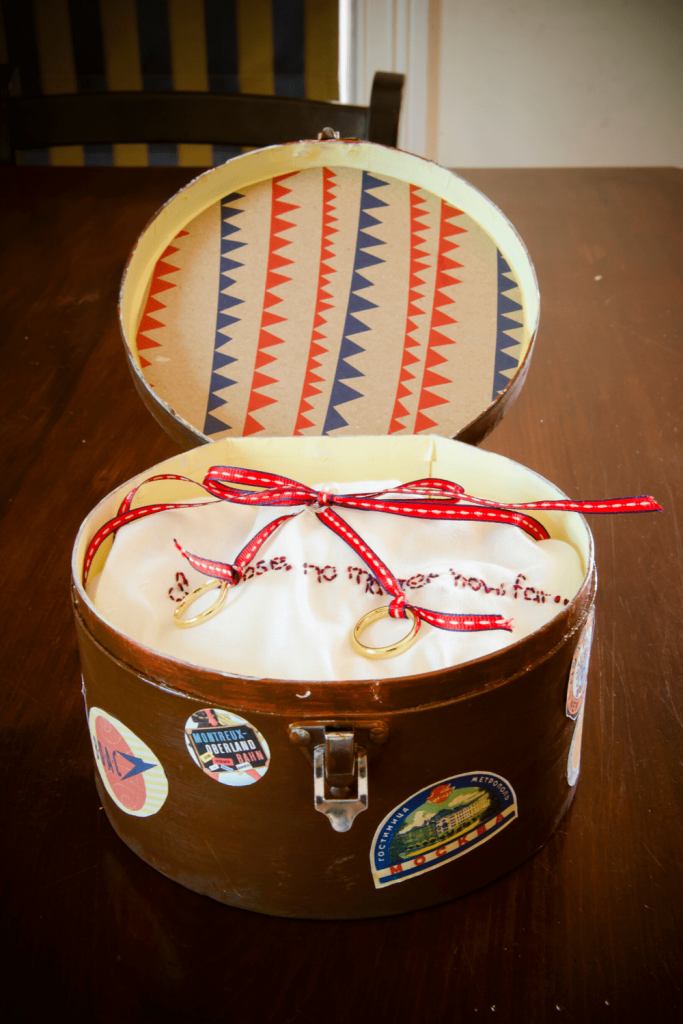 Ring pillow inside a deco patch hat box, made to look like a vintage suitcase with travel stickers: DIY vintage travel themed wedding. Photo: Kate Basso Photography