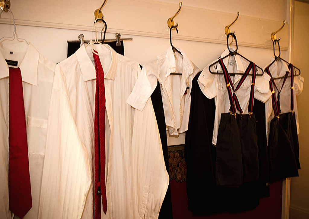 The boys wardrobe for our navy and red vintage travel themed wedding. Photo: Kate Basso Photography