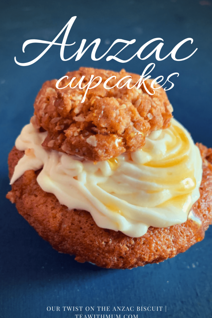 Anzac cupcakes: our tribute to the humble Anzac biscuit - apple and golden syrup cupcakes, Anzac biscuit crumb, subtle golden syrup frosting with golden syrup drizzle and a mini Anzac biscuit
