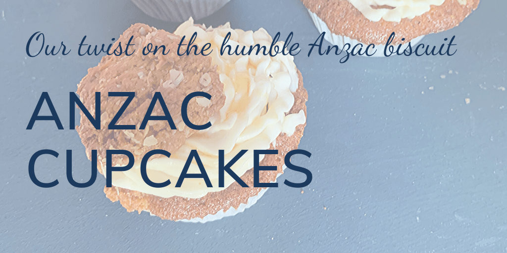 Our twist on the humble Anzac biscuit: Anzac cupcakes - banner with image of an Anzac cupcake on black background