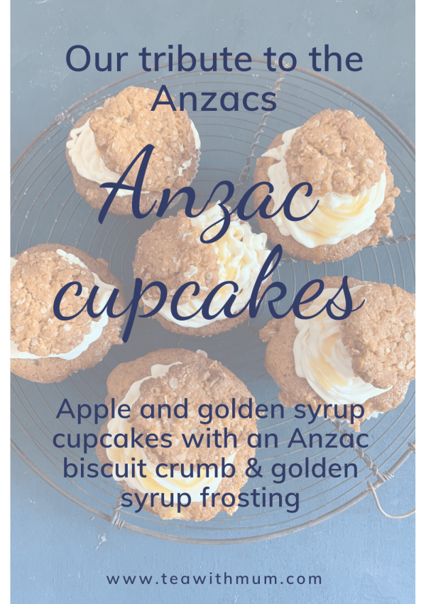 Our tribute to the soldiers, past and present this Anzac Day: Anzac cupcakes. Apple and golden syrup cupcakes with Anzac biscuit crumble, subtle golden syrup frosting and a mini Anzac biscuit; image of a rack with six Anzac cupcakes