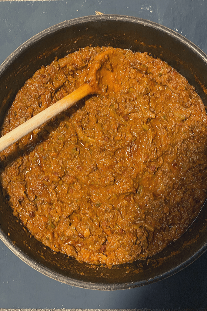 Traditional bolognese sauce in my favourite serving pan