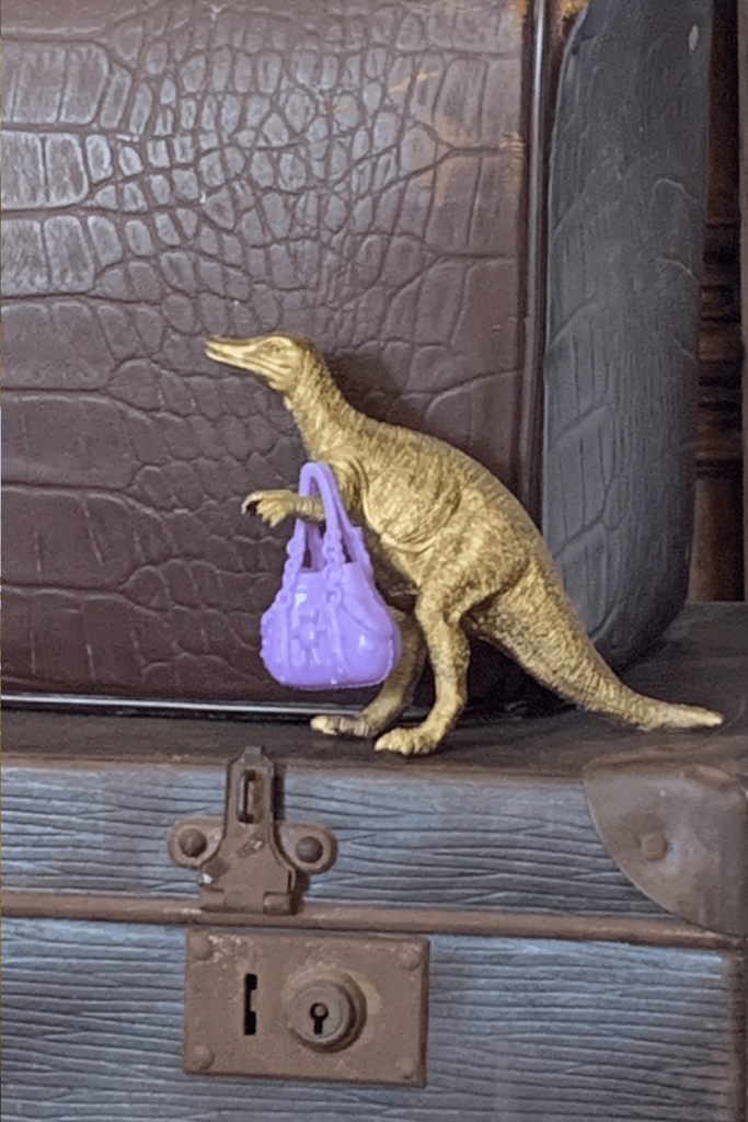 Get creative with storage - we used some vintage suitcases or some storage. Purging the lounge room of toys does not mean everything has to go. This little dinosaur and his handbag stayed, for example.