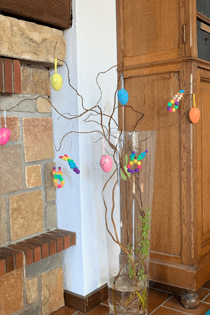 Our Easter tree - which has decided to bloom. A good example of seasonal decor that really needs to be removed from the lounge (and put somewhere organized) when the season is over.
