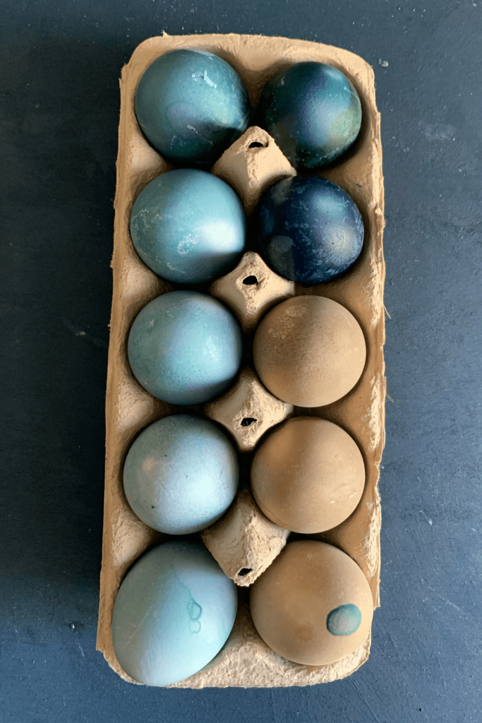 How to dye Easter eggs with natural ingredients: dyed Easter eggs in an egg carton