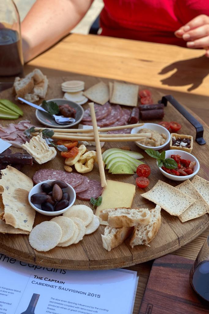 Delicious platter at False Cape Winery, Kangaroo Island