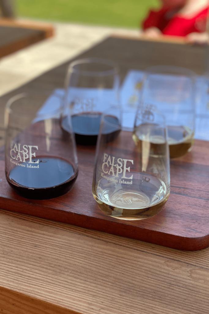 Wine flight at False Cape Winery