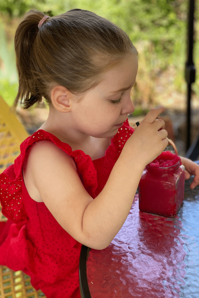 Enjoying a raspberry slush at KI Spirits