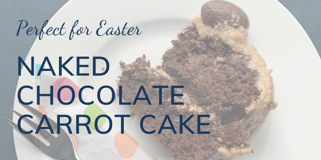 Perfect for Easter: Naked chocolate carrot cake, banner, with image of slice of cake with Easter serviette and fork