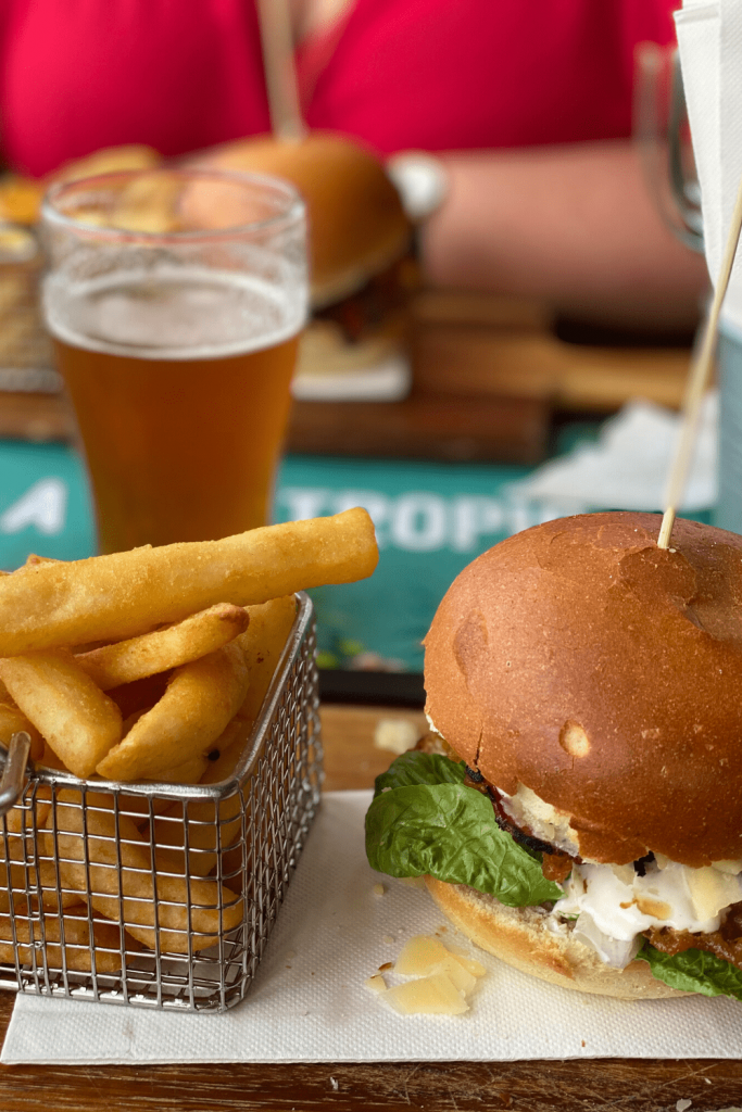 Burger, fries and a beer at the Penneshaw Hotel