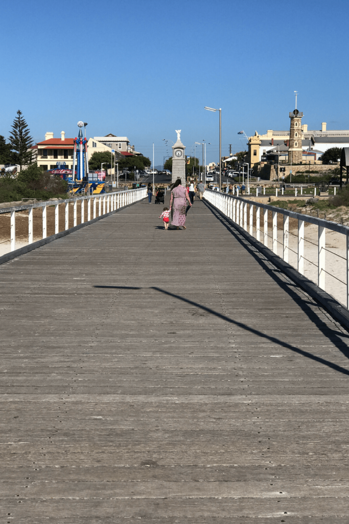 Walking back to the shore along Semaphore jetty