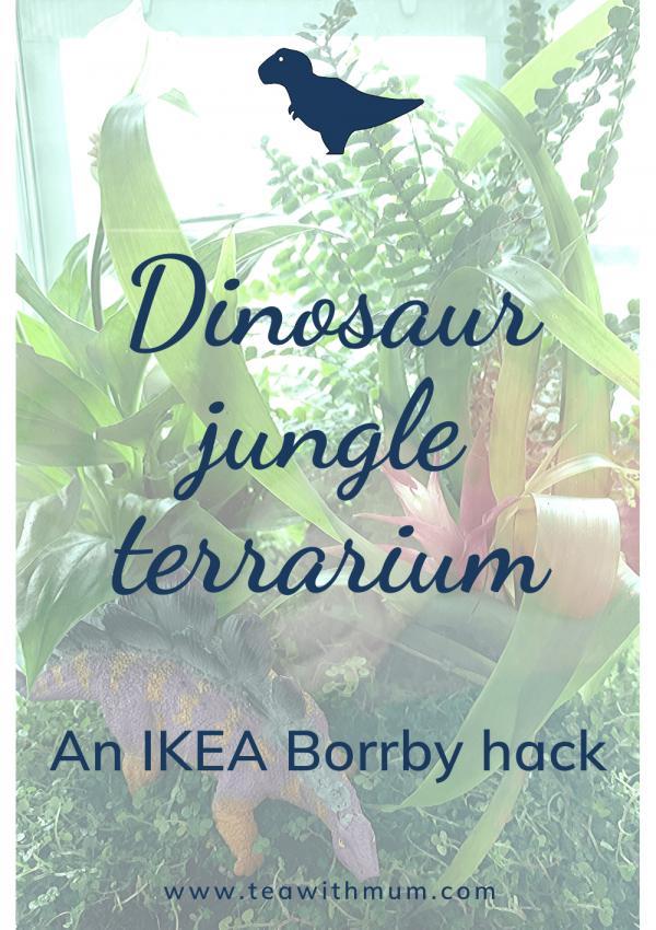 A dinosaur jungle terrarium: an IKEA Borrby hack