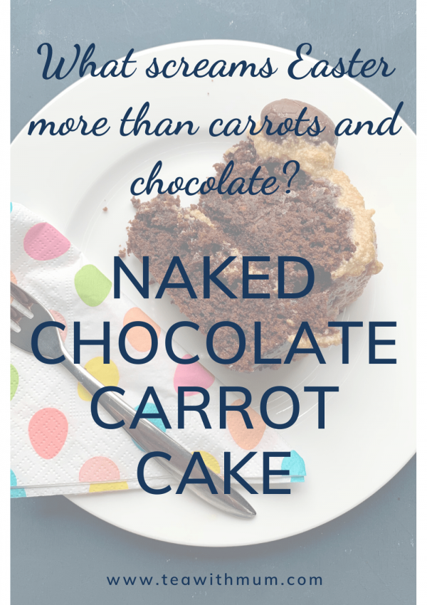 What screams Easter more than carrots and chocolate? Try this naked chocolate carrot cake! Perfect for Easter brunch or afternoon tea. Image of slice of cake on a plate with an easter serviette and a fork