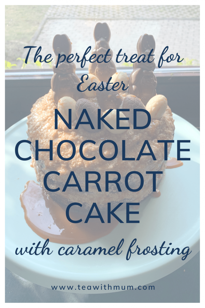 The perfect treat for Easter: Naked chocolate carrot cake with caramel frosting and Easter egg decorations; here on a green cake stand