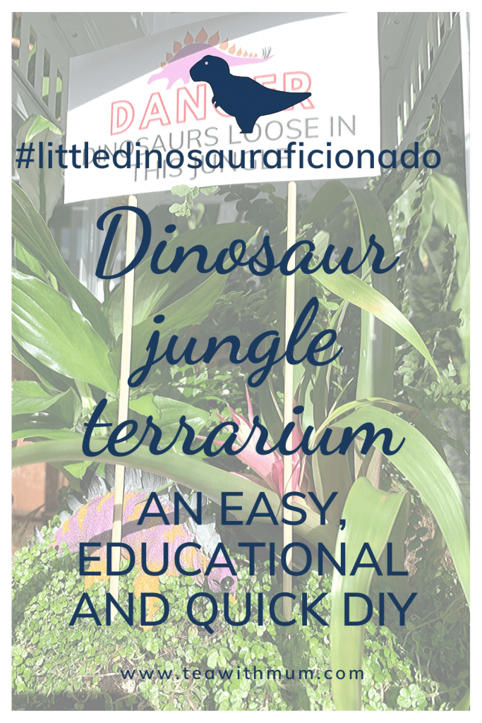 Dinosaur jungle terrarium, an easy, educational and quick DIY to make with your little dinosaur aficionado; IKEA Borrby hack