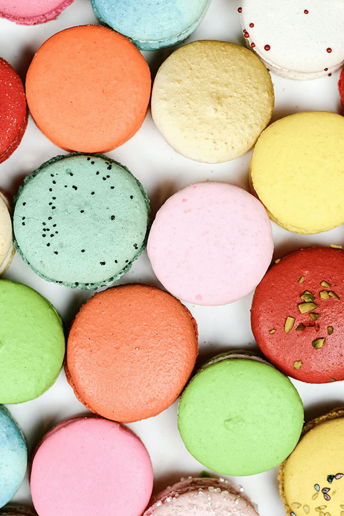 Rainbow coloured macaroons