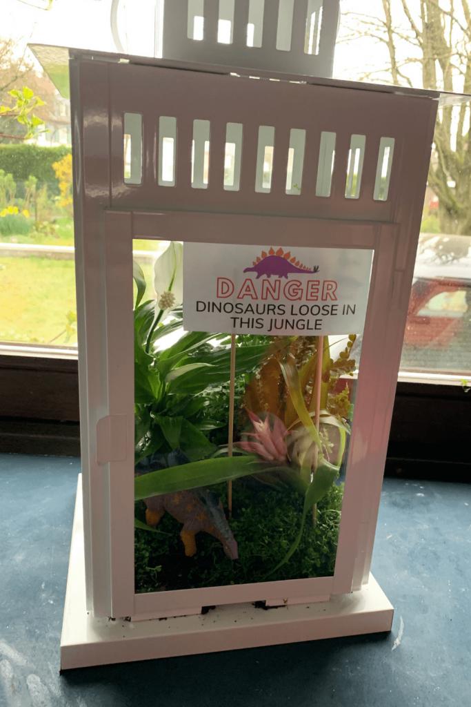 Our IKEA Borrby hack dinosaur jungle terrarium