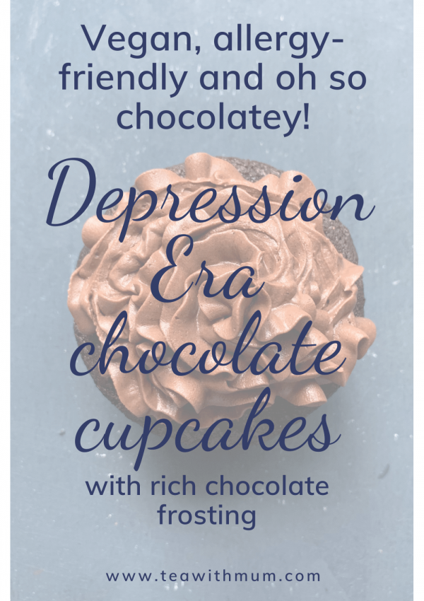 Vegan chocolate cupcakes, allergy-friendly chocolate cupcakes and oh so chocolatey! Depression Era chocolate cupcakes with rich chocolate frosting. Title with image of single cupcake