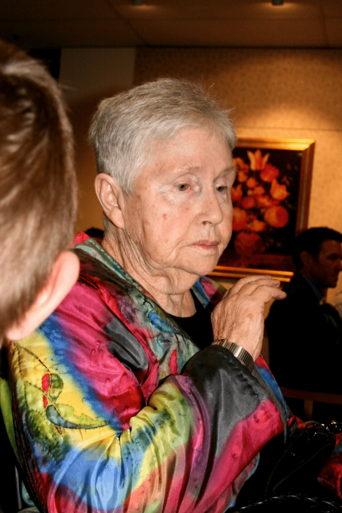 Granny in one of her painted jackets