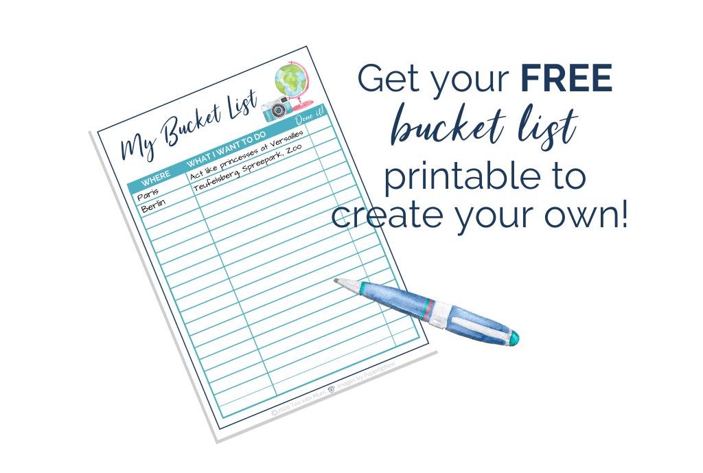 Free bucket list printable image